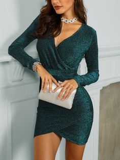 Surplice Ruched Overlap Glitter Party Dress Source by pgotamay dresses party Dress Outfits, Casual Dresses, Short Dresses, Fashion Dresses, Glitter Party Dress, Short Glitter Dress, Dress Party, Glitter Outfit, Ropa Interior Babydoll