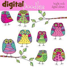INSTANT DOWNLOAD bright owls digital clipart por kpmdoodles en Etsy, $3.65