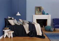 A gorgeous blue bedroom Royal Oak Floors, Blue Bedroom Paint, Shades Of Dark Blue, Home Interior Design, Light Colors, Paint Colors, Living Spaces, Design Inspiration, Flooring
