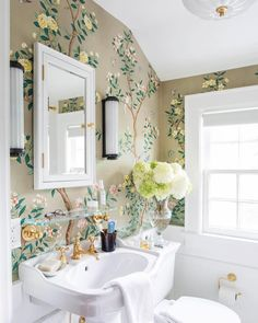 Décor Inspiration: The Guest Powder Room of The Happy Tudor - handpainted Gracie wallpaper, glossy subway tile, boiserie, unlacquered brass fixtures Beautiful Bathrooms, Modern Bathroom, Small Bathroom, Disney Bathroom, Zen Bathroom, Neutral Bathroom, White Bathroom, Gracie Wallpaper, Of Wallpaper