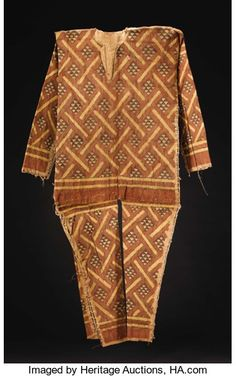 "African: , Pygmy (?) (Democratic Republic of Congo). Body Suit. Barkcloth, paint, vine. Height"" 50 ¾ inches Width: 63 ½ inches. Ph..."