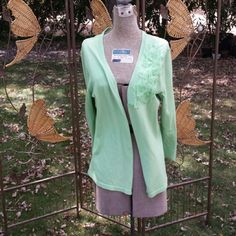 Green Cardigan w/ Flower Appliqu Mint Green Cardigan with flower applique detail on front. Has 5 buttons down the front. Jones New York Sweaters Cardigans