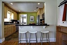 36 Trendy Kitchen Open Plan Small Dream Homes Half Wall Kitchen, Small Kitchen Diner, Open Kitchen And Living Room, Kitchen On A Budget, New Kitchen, Kitchen Decor, Kitchen Colors, Kitchen Ideas, Dirty Kitchen