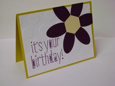 hand crafted birthday card  found on Stampin' Studio blog ... black, and white with yellow accents .. flower with hexagon center and oval punch petals ...