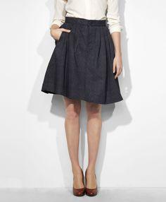 Levi's Pleated Circle Skirt - Blue Herringbone - Dresses & Skirts