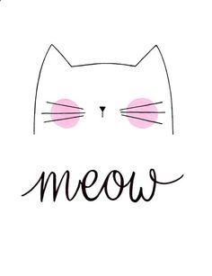 Nursery Art Cute Cat Art Meow Cat Print by morningswithcoffee