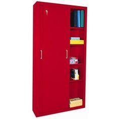 Sandusky Sliding 2 Door Storage Cabinet Color: Red
