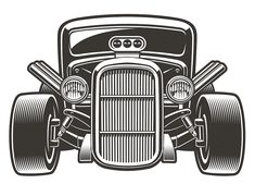 Black-white vector illustration of a vintage hot rod. The illustration has a white background, you can change the color, use it as a design element. Vector Design, Logo Design, Simple Illustration, Car Illustration, Illustrations, Bus Art, Old Hot Rods, Dog Shop, Chocolate Art
