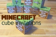 Minecraft cube invitations, plus easy and inexpensive Minecraft party gift bags - $5.15 per bag!