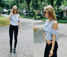 Isabella Dams - Bershka Top, Divided Trousers, Mango Sunglasses, Nike Shoes, Forever 21 Jewelry - Mirrored glasses