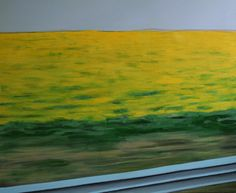 "gelbes Rapsfeld mit Leitplanke Malerei auf Leinwand, realistisch drive-by shooting Saatchi Online Artist Karoline Kroiss; Painting, ""yellow field"" #art, Painting on Canvas,"