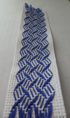 Embroidered bookmark Swedish weaving blue by BlackberryCandle