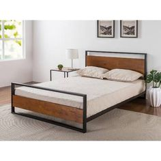 Midcentury Modern Zinus Ironline Metal and Wood Platform Bed with Headboard and Footboard / Box Spring Optional / Wood Slat Support, Queen Metal Platform Bed, Modern Platform Bed, Upholstered Platform Bed, Platform Beds, Black Platform, Wood Headboard, Headboard And Footboard, Headboards For Beds, Wood Beds