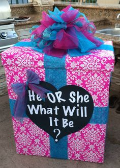 Baby reveal party fill the box with pink or blue balloons to reveal to everyone!!!! This is awesome