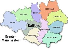 Map of Greater Manchester,we are in Eccles Salford. Manchester Love, Manchester United Team, Manchester England, Bolton England, Salford, Location Map, Town Hall, Cartography, Urban Landscape