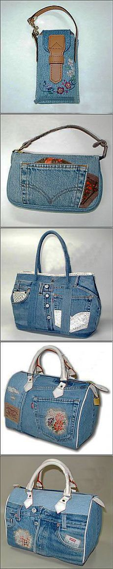 Cute denim bags and wallets. Blue Jean Purses, Denim Handbags, Denim Purse, Denim Crafts, Craft Bags, Old Jeans, Recycled Denim, Handmade Bags, Handmade Leather