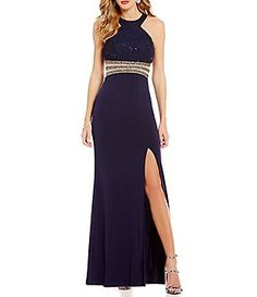 Xtraordinary Sequin Lace Bodice Embellished Waist Long Dress