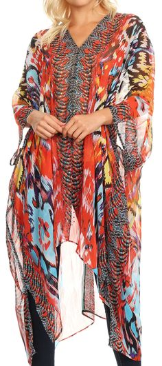03a13b998ff98 Sakkas Livi Women's V Neck Beach Dress Cover up Caftan Top Loose with  Rhinestone