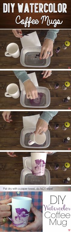 DIY Watercolor Coffee Mugs - How To Paint Coffee Mugs Looking for something unique for a someone special? A DIY watercolor coffee mug might be what you are looking for. These mugs look really cool and. Cute Diy Projects, Cute Crafts, Crafts To Do, Craft Projects, Project Ideas, Easy Crafts, Teen Projects, Kids Crafts, Crafts Cheap