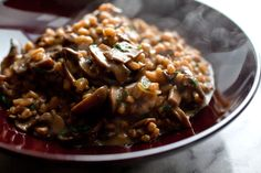 NYT Cooking: Farro is chewier than Italian rice and doesn't release starch when it's cooked, so there's no need to stir it the way you'd stir a risotto. This hearty dish has a rich, earthy flavor. Although it takes about twice as long as a risotto to cook, it doesn't require tending.
