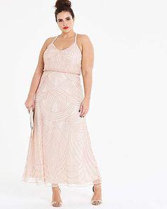 b61c30791b88 DESIGN Curve dipped hem maxi dress with 3D embellishment and ruffle ...