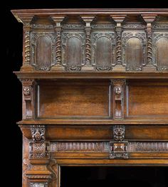 Antique Large Oak Jacobean manner Victorian Fireplace and Overmantel