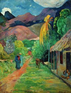 """Road in Tahiti, 1891 - Paul Gauguin. In Gauguin sailed to French Polynesia to escape European civilization and """"everything that is artificial and conventional"""". His time away, particularly in Tahiti and Hiva Oa Island, was the subject of much interes Paul Gauguin, Henri Matisse, Toledo Museum Of Art, Art Museum, Gauguin Tahiti, Impressionist Artists, Art Moderne, Art Graphique, Fine Art"""