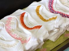 Cute Vintage-Inspired DIY Onesies ideas if you're decorating onesies at the baby shower.
