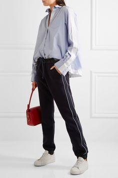 Sacai | Lace-trimmed poplin hooded shirt | NET-A-PORTER.COM