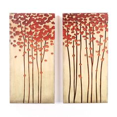 Vibrant blossoms grace the tops of abstract trees in this set of two wood paintings.  Hand-carved and painted these pieces of art are done on real distressed wood.