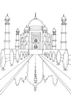 Taj Mahal Coloring Page Elegant Taj Mahal Drawing at Getdrawings Architecture Drawing Art, Colour Architecture, Cool Art Drawings, Art Drawings Sketches, Taj Mahal Dibujo, Taj Mahal Drawing, Coloring Book Pages, Drawing For Kids, Islamic Art