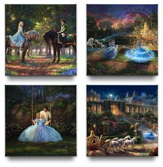 Cinderella Gallery Wrapped Canvases (Set of – x Gallery Wrapped Canvas - Thomas Kinkade Studios Gallery Wraps are perfect for any space. Each wrap is crafted with our premium canvas reproduction techniques and hand wrapped around a Cinderella Cartoon, Cinderella 2015, Cinderella Castle, Cool Artwork, Canvas Artwork, Kinkade Paintings, Thomas Kincaid, Thomas Kinkade Disney, Have Courage And Be Kind
