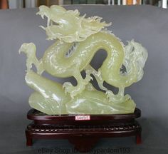 "16"" Chinese Fengshui soapstone Xiu Jade Zodiac Year Dragon Successful Statue"