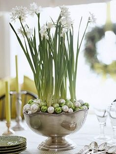 Amaryllis or paperwhites with  ornaments in silver bowl make a stunning centerpiece!