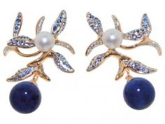 LEAF AND BLOSSOM Earrings – one of a kind – gold, saphire, full cut diamonds, lapis, pearls. EARRINGS by Susa Beck.