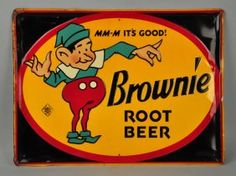 Brownie Root Beer Self Framed Embossed Tin Sign