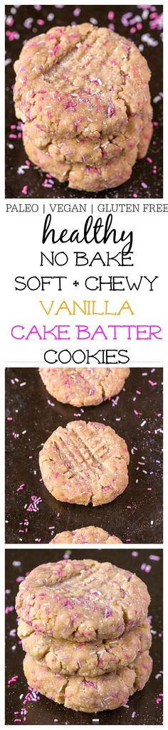 Healthy No Bake Vanilla Cake Batter Cookies- One bowl and ten minutes is all you'll need to have dessert for breakfast- With a healthy makeover! These No Bake Protein Packed Vanilla Cake Batter cookies are soft and chewy! Gluten, sugar and dairy free with a vegan and paleo option too!