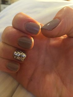 Nails gel sparkly bling neutral brown light