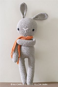 This listing is an original pattern written in English using US Crochet Terminology to crochet your own amigurumi bunny. Crochet this very loveable bunny that is perfect for birthdays, Easter or to make a loved one smile.  This amigurumi bunny measures approximately 40cm (16 inches) from top of ears to bottom of legs when done with an 8 ply (US Light Worsted / UK DK) type of yarn and a 4.5mm crochet hook. ***IMPORTANT, PLEASE NOTE: PURCHASE OF THIS ITEM IS FOR A DIGITAL PDF CROCHET PATTE...