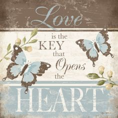 Love Is The Key by Kathy Middlebrook art print Collages D'images, Images Vintage, Shabby, Keys Art, Butterfly Art, Butterflies, Decoupage Paper, Paper Background, Scrapbook Paper