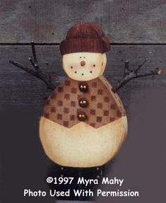 000154 (6) Snowmen w/Vests-snowman, christmas, myra mahy, country faces, decorative painting, tole painting, wood crafts, wood blanks, wood kits, country, patterns