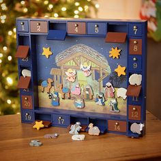 Wooden Nativity Advent Calendar With Magnetic Figures J3767 #KurtAdler