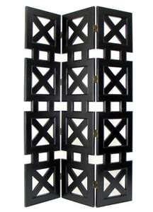 Wonderful X-Designed 3-Screens Panel Room Divider Model in Black