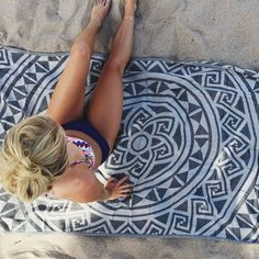 Sand Cloud boho inspired towel. This crafty design is perfect for the beach, park or even a tapestry for your home.