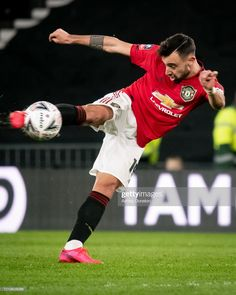 Bruno Fernandes of Manchester United in action during the FA Cup Fifth Round match between Derby County and Manchester United at Pride Park on March 2020 in Derby, England. Get premium, high resolution news photos at Getty Images Manchester United Wallpaper, Manchester United Players, Pride Park, Cristiano Ronaldo Lionel Messi, European Soccer, Fa Cup, College Basketball, Nike Soccer, Soccer Cleats