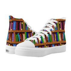 Library Books Bookshelf Pattern Colorful Readers High-Top Sneakers ($96) ❤ liked on Polyvore featuring shoes, sneakers, colorful high tops, multi color shoes, multi colored sneakers, colorful high top shoes and wooden shoes