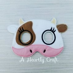 Felt Cow Farmyard Felt Mask - Birthday Party Halloween Dress Up Costume by AHeartlyCraft on Etsy