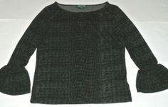 Ralph Lauren Top Shirt Knit Blouse Snake Skin Print Bell Sleeves Size S Womens