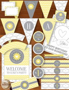 Items similar to You Are My Sunshine Birthday Party Printable Package - DIY - Yellow Gray / Grey - Chevron Stripes, Clouds, Hearts - First Birthday on Etsy Printable Baby Shower Invitations, Baby Shower Printables, Printable Invitations, Party Printables, Baby First Birthday, First Birthday Parties, First Birthdays, Birthday Ideas, Sunshine Birthday Parties