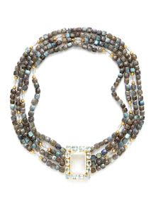 Labradorite & Quartz Bib Necklace by Bounkit at Gilt